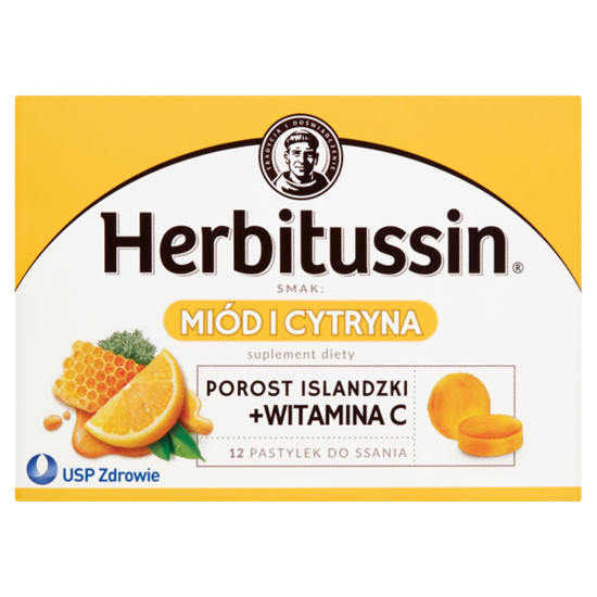 Herbitussin Miód i cytryna Pastylki do ssania Suplement diety 12 pastylek